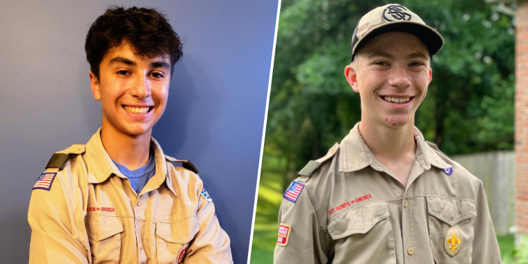 Boy Scouts Dominic Viet (left) and Joseph Diener (right) rescued a woman from drowning in floodwaters in Columbia, Missouri on June 25, 2021.