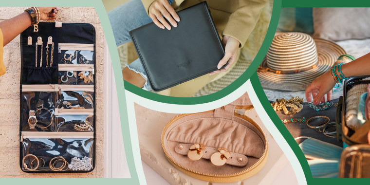 Illustration of three types of Travel cases and pouches for jewelry when you travel and an image of a Woman reaching for her Jewelry as she packs