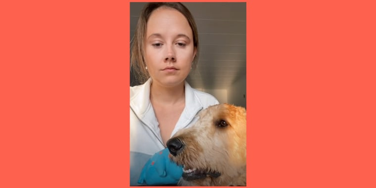 Screengrab of woman's serious face alongside a dog