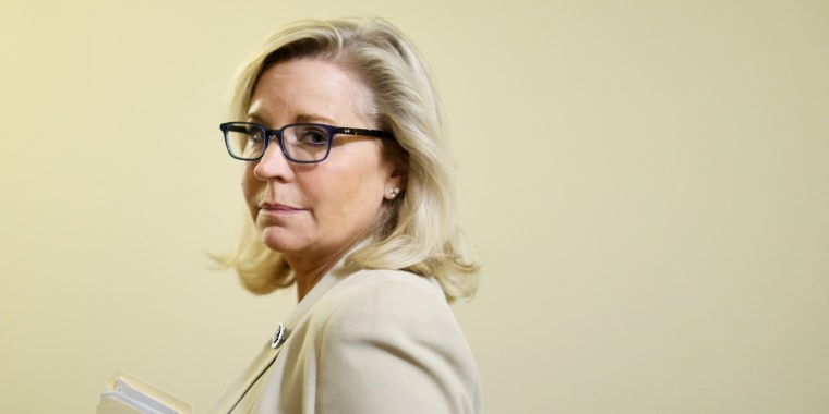 Rep. Liz Cheney, R-Wyo., listens to a reporter's question after a meeting with fellow members of the Select Committee to Investigate the January 6th Attack on the U.S. Capitol on July 1, 2021.