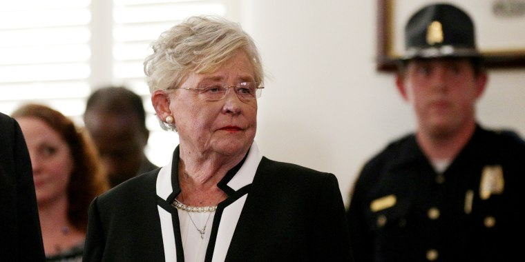 Image: Lt Governor Kay Ivey waits to be sworn in shortly after Alabama Governor Robert Bentley announced his resignation amid impeachment proceedings on accusations stemming from his relationship with a former aide in Montgomery