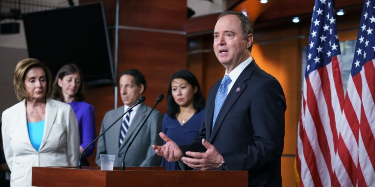Rep. Adam Schiff, D-Calif., speaks at the Capitol on July 1, 2021.