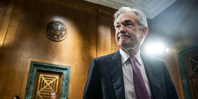 Jerome Powell, chairman of the U.S. Federal Reserve, arrives for a Senate Banking Committee hearing on July 15, 2021.
