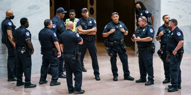 Capitol Police officers assemble in the Hart Senate Office Building on Capitol Hill to prepare for a demonstration by voting rights advocates on July 15, 2021.
