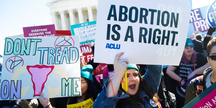 Image: Pro-choice activists supporting legal access to abortion protest during a demonstration outside the Supreme Court on March 4, 2020.