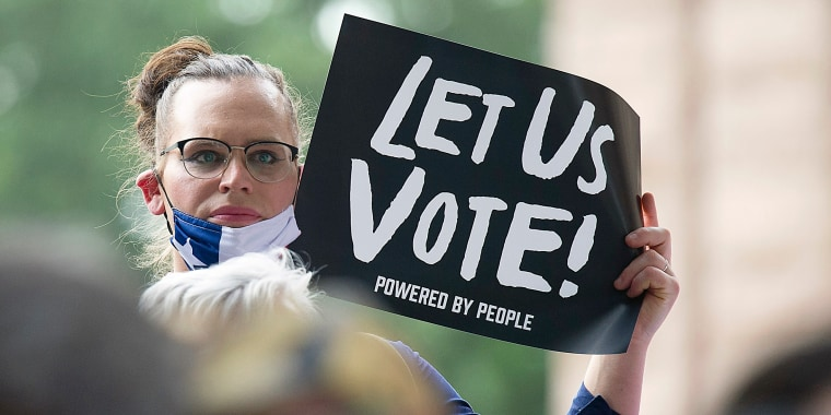 Image: Texas voters rally at the south steps of the Texas State Capitol in Austin, Texas, on June 20, 2021.