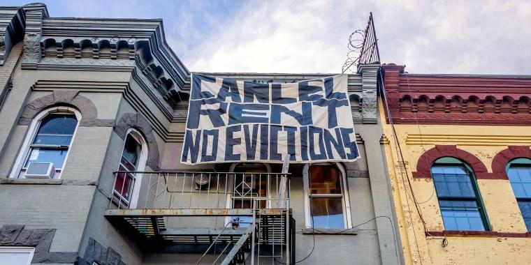Cancel Rent banner drop in Bushwick. Tenants and Housing