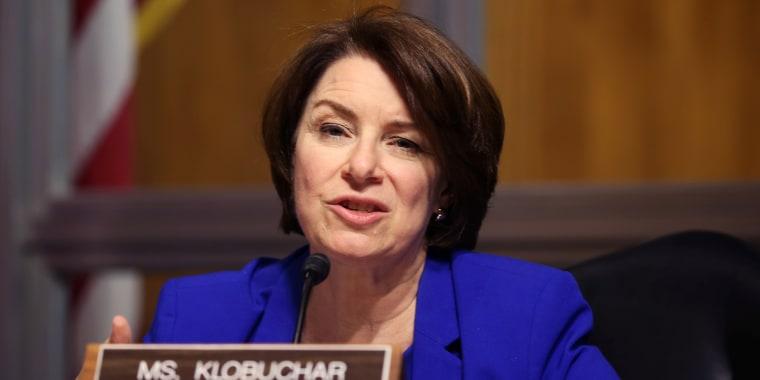 Sen. Amy Klobuchar, D-Minn., asks questions during a hearing on April 27, 2021.