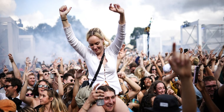Image: People dance while attending GALA festival in south London on Aug. 1, 2021.