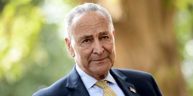 Senate Majority Leader Charles Schumer outside the Capitol on July 27, 2021.