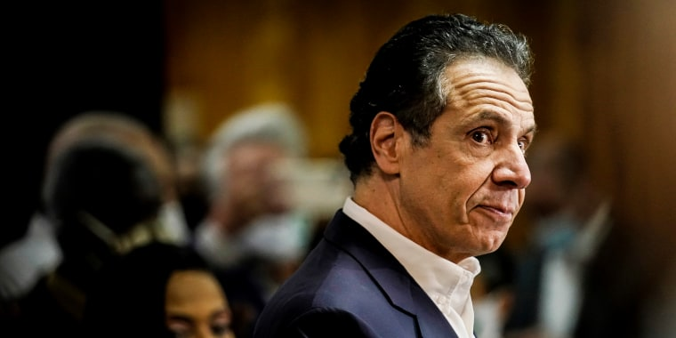 New York Governor Andrew Cuomo speaks before getting vaccinated at the mass vaccination site at Mount Neboh Baptist Church in Harlem on March 17, 2021 in New York.