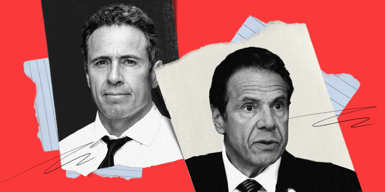 Photo illustration: Pieces of paper with images of Chris Cuomo and Andrew Cuomo.