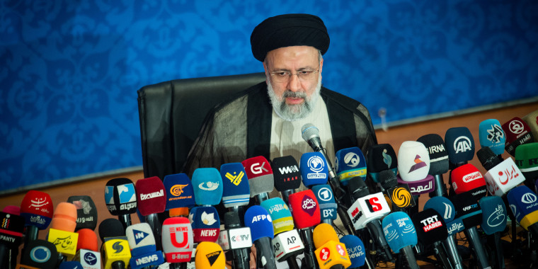 Image: Iran's President Ebrahim Raisi holds his first news conference following his presidential election victory in Tehran on June 21, 2021.