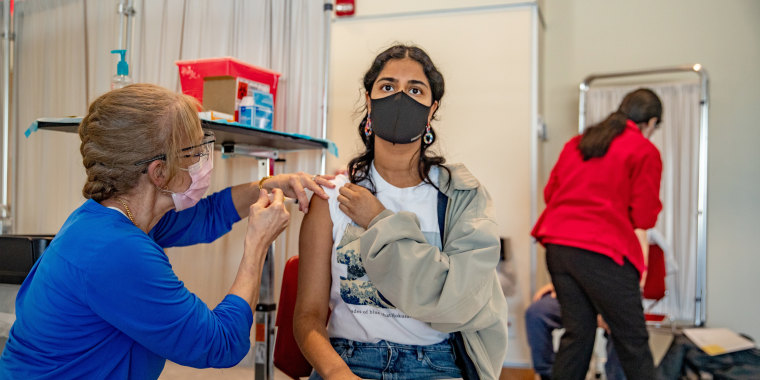 College student get vaccinated against Covid-19