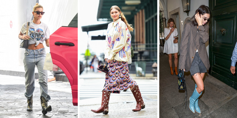 Three images of Model Gigi Hadid is seen on set of a photoshoot in Soho, Hailey Baldwin is seen on August 29, 2019 in Los Angeles, California and Kendall Jenner is seen during Milan Fashion Week Spring/Summer 2019