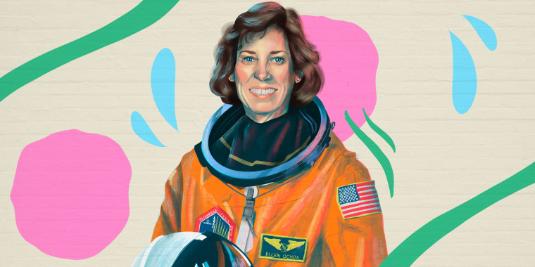 Illustration of Dr Ellen Ochoa in space suit