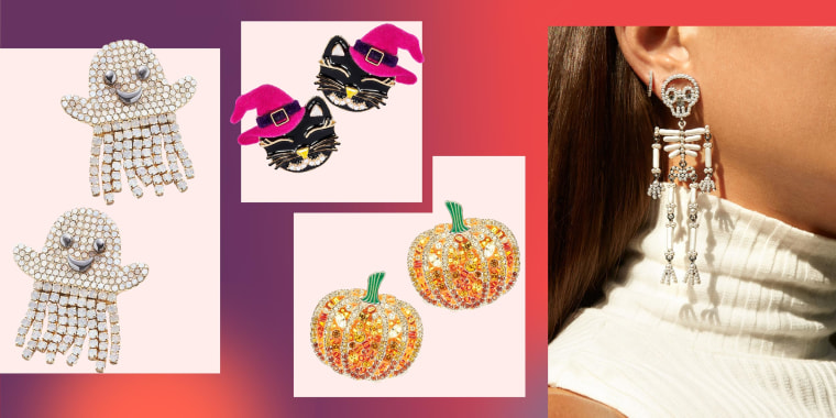 Illustration of four different types of Halloween inspired earrings. A Woman wearing Skeletons, pumpkins, cats wearing hats and mini ghosts