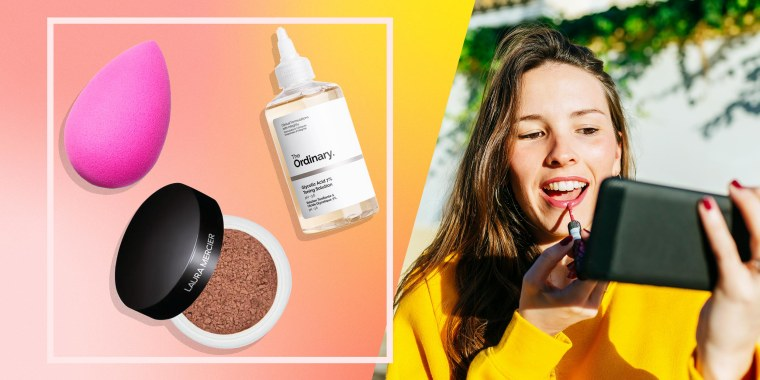 Illustration of a Beauty Blender, Laura Mercier Translucent Loose Setting Powder, The Ordinary Glycolic Acid 7% Toning Solution and a Woman looking at a phone while putting on lip gloss