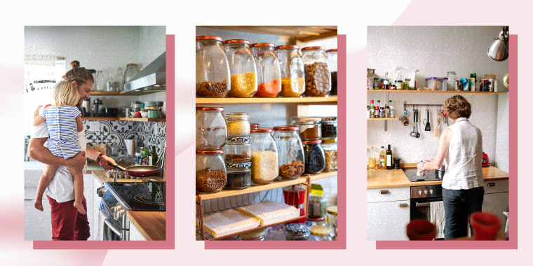 Three images of a Man cooking in the kitchen, an organized kitchen storage cabinet and a Woman is a small Kitchen