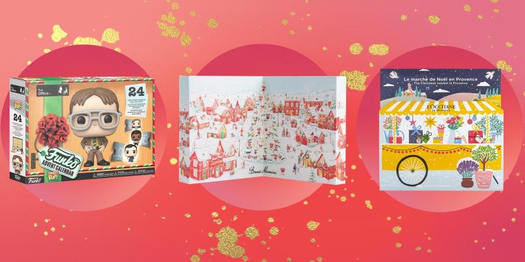 Illustration of the L'Occitane Advent Calendar, Funko Advent Calendar and Bonne Maman Preserves and Honey Advent Calendar