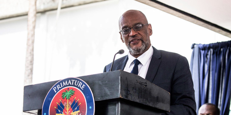 Designated Prime Minister Ariel Henry speaks during a ceremony at La Primature in Port-au-Prince, Haiti, on July 20, 2021.
