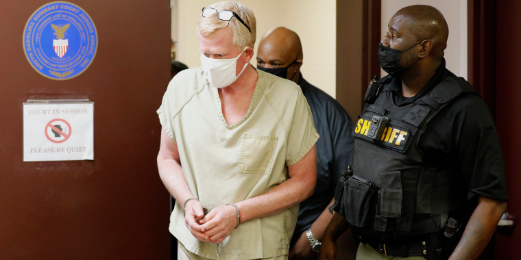 Image: Lawyer Alex Murdaugh walks into his bond hearing on  Sept. 16, 2021, in Varnville, S.C.