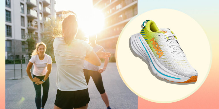 A fitness instructor warming up with her class outdoors and an image of the Hoka One One Sneaker