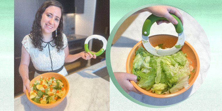 Two images of Writer Abigail Barr using a salad chopper famous on TikTok to chop up romaine lettuce, and a completed chopped salad