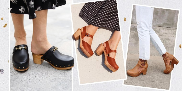 Illustration of three different Women wearing different styles of fashionable clogs