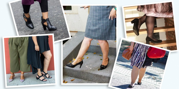 Five images of different styles of heeled, flat and open toe wide calf shoes