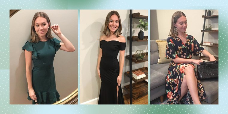 Three images of Writer Cassidy McKenna wearing a black tie black dress, a floral patterned dress and a green dress all from Amazon