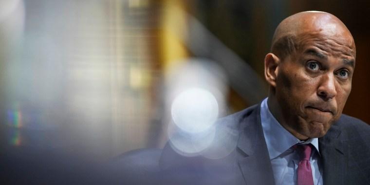 Sen. Cory Booker, D-N.J., participates in a Senate hearing on Sept. 14, 2021, in Washington.