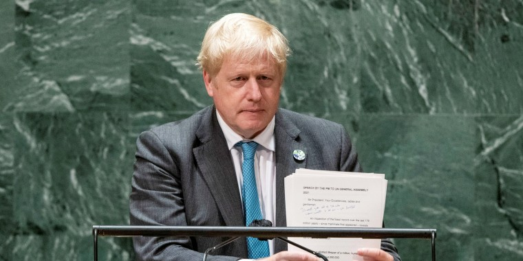 Image: British Prime Minister Boris Johnson addresses the 76th Session of the U.N. General Assembly in New York City