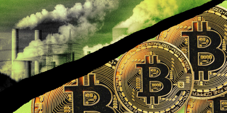 Illustration of power plant smoke stacks and Bitcoin tokens.