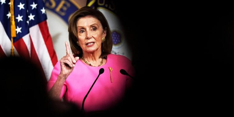 House Speaker Nancy Pelosi, D-Calif., speaks on Capitol Hill on Sept. 23, 2021.