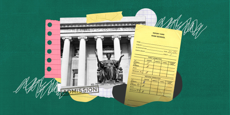 Collage of report card and university on green background