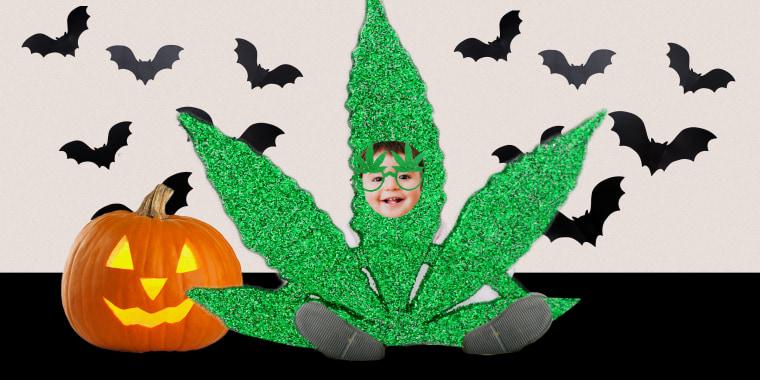 Baby wearing marijuana costume