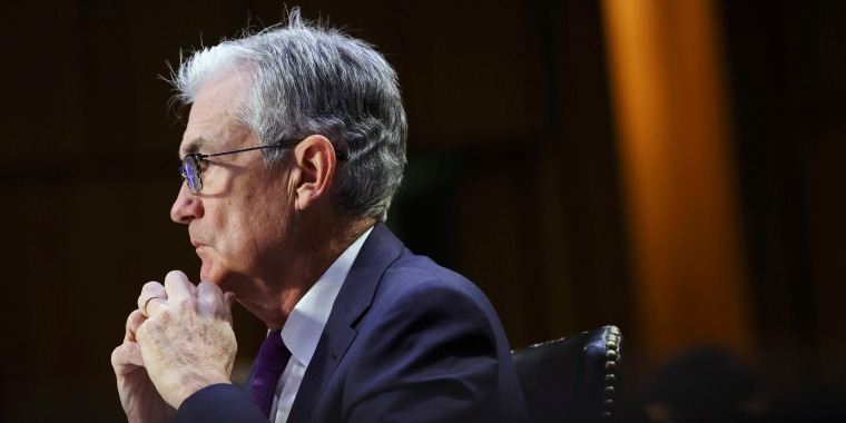 Federal Reserve Chairman Jerome Powell testifies during a Senate Banking, Housing and Urban Affairs Committee hearing on Sept. 28, 2021.