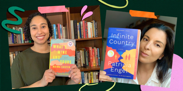 Author Patricia Engel holding her book 'Infinite Country' and Author Naima Coster holding her book 'What's Mine and Yours'