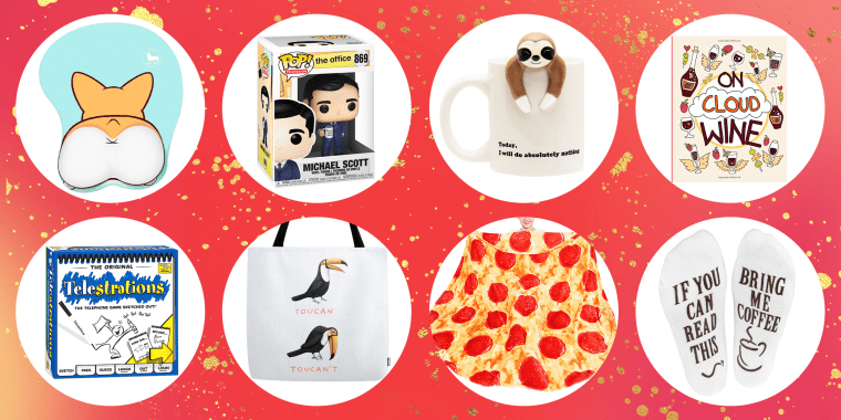 Illustration of 8 different funny products to buy for the Holidays