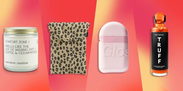 TRUFF Hot Sauce, Anecdote Comfort Glass Candle, Glossier Nightstand Duo and Baggu Puffy Tablet Sleeve