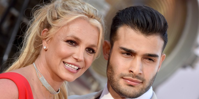 """Britney Spears and Sam Asghari attend Sony Pictures' """"Once Upon a Time ... in Hollywood""""."""