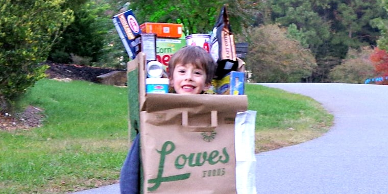 A grocery bag? OK, a grocery bag! Kids come up with the most interesting costume ideas.