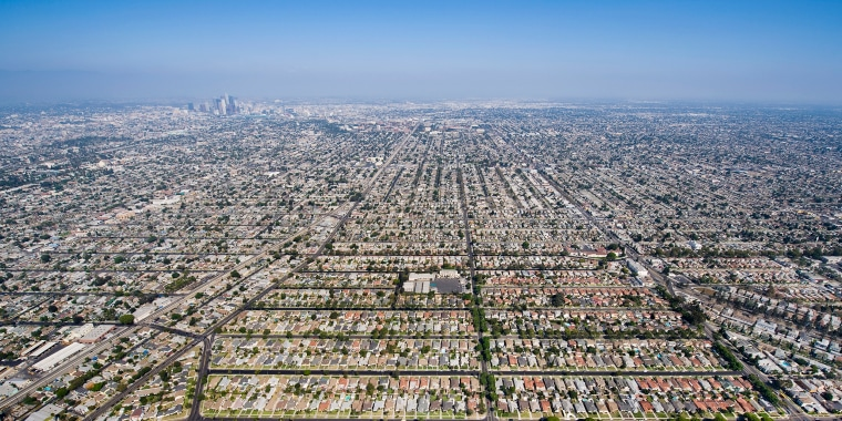 Image: Aerial View of Residential Inner City Los Angeles, California, USA