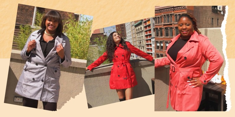 Split image of three Women on Broadcast try on a bestselling fall trench coat in different sizes
