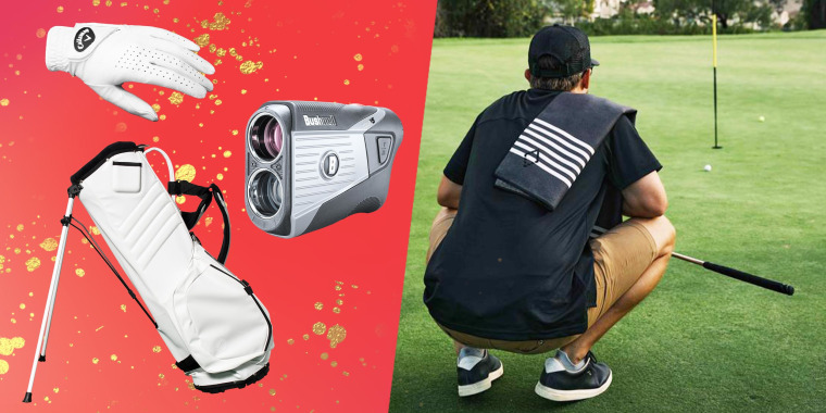 Illustration of a Bushnell V5 Patriot Pack Laser Range Finder, MNML Golf Bag in white, Callaway Dawn Patrol Women's Glove and a man squatting at a golf whole with a Nomadix Mini Towel: Poolside Black