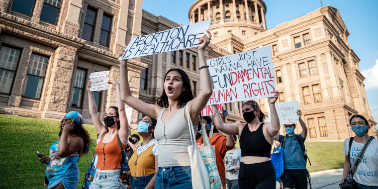 Image: Texas abortion protest, Pro-choice protesters march outside the Texas capitol