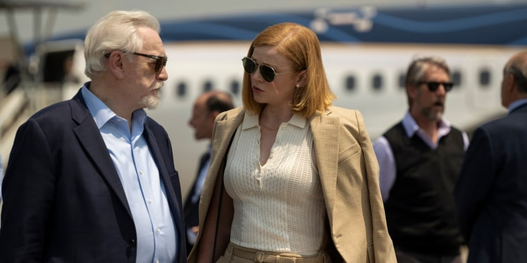 """Sarah Snook plays Siobhan 'Shiv' Roy, daughter of Logan Roy played by Brian Cox on \""""Succession\"""" on HBO."""
