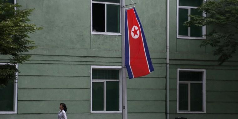 A North Korean flag in Pyongyang, North Korea, Sunday, Aug. 16, 2015.