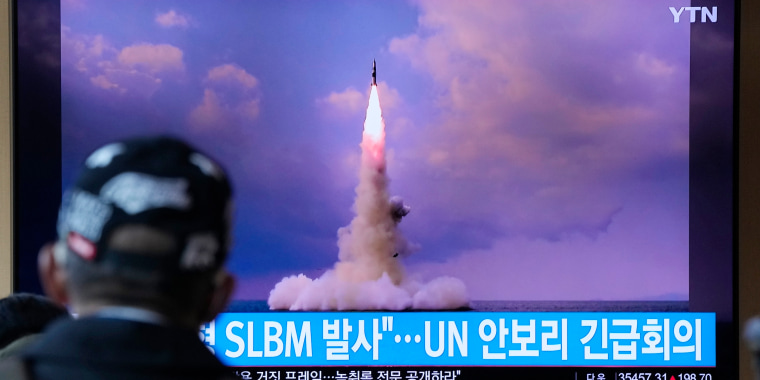 A TV screen in Seoul, South Korea, showing an image on Wednesday of the ballistic missile North Korea launched from a submarine the day before.
